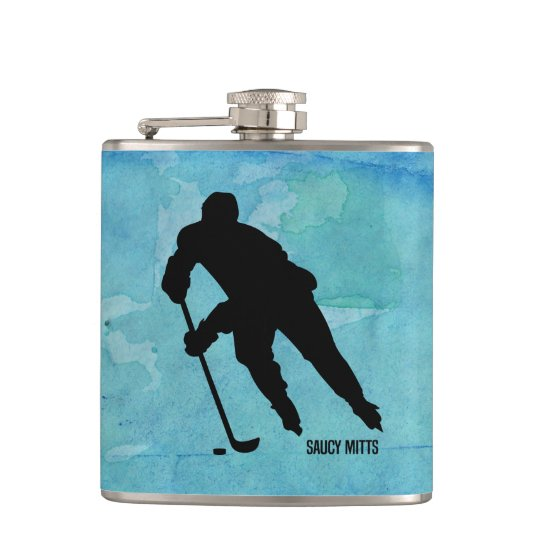 Hockey Player on Blue Watercolor Flasks