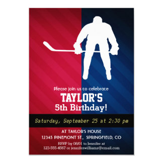"""Hockey Player; Red, White, and Blue 5"""" X 7"""" Invitation Card"""
