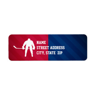 Hockey Player; Red, White, and Blue Return Address Label