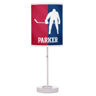 Hockey Player; Red, White, and Blue Table Lamp