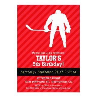 "Hockey Player; Scarlet Red Stripes 5"" X 7"" Invitation Card"