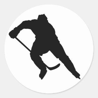 Hockey-Player-Silhouette-1 Classic Round Sticker