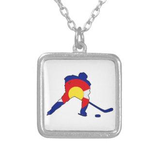 Hockey Player With Colorado Pride Silver Plated Necklace