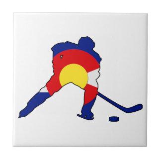 Hockey Player With Colorado Pride Tile