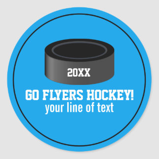 Hockey Puck Custom Team Name, Year, Your Text Classic Round Sticker