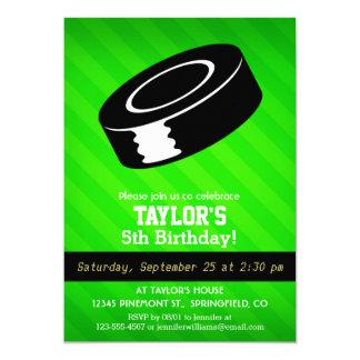 "Hockey Puck; Neon Green Stripes 5"" X 7"" Invitation Card"