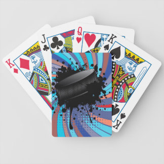 Hockey Puck on Background with Rays 2 Poker Deck