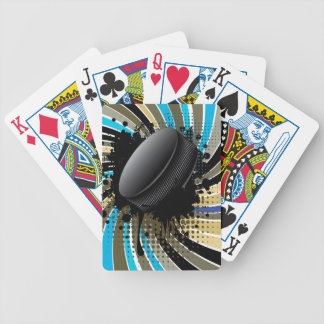 Hockey Puck on Background with Rays Bicycle Playing Cards