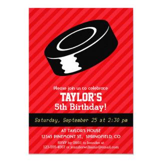 "Hockey Puck; Scarlet Red Stripes 5"" X 7"" Invitation Card"