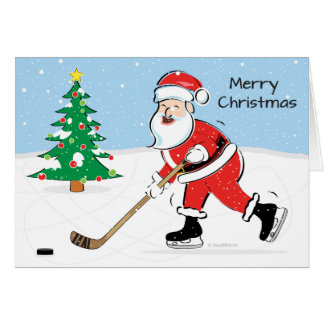 Hockey Santa Christmas Card