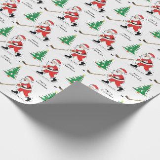Hockey Santa Christmas Wrapping Paper