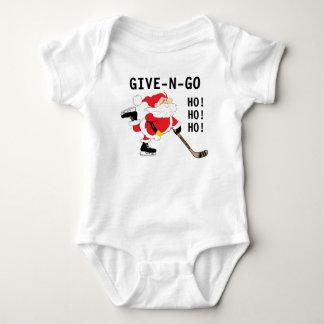 Hockey Santa Skating Christmas Give N Go Ho! Ho! Baby Bodysuit