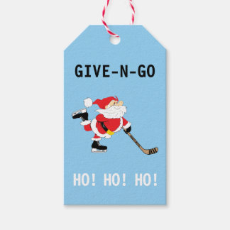 Hockey Santa Skating Christmas Give N Go Ho! Ho! Gift Tags
