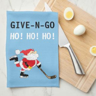 Hockey Santa Skating Christmas Give N Go Ho! Ho! Kitchen Towel