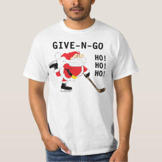 Hockey Santa Skating Christmas Give N Go T-Shirt