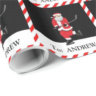 Hockey Santa Wrapping Paper