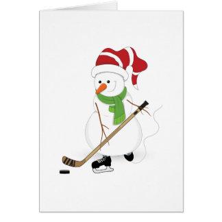 Hockey Snowman Christmas Card