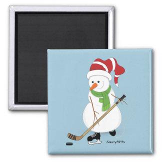 Hockey Snowman Christmas Magnet