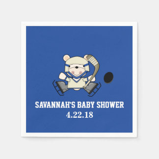 Hockey Sports Polar Bear Custom Party Napkin Disposable Napkins