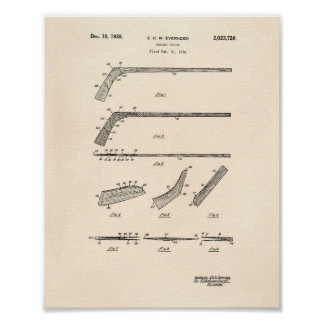 Hockey Stick 1935 Patent Art - Old Peper Poster