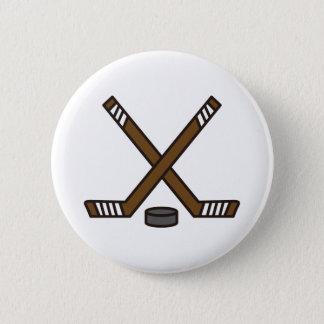 Hockey Sticks and Puck 2 Inch Round Button