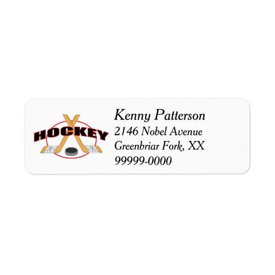 Hockey Sticks and Puck 4 Line Return Address Label