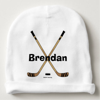 Hockey Sticks Baby Infant Personalized Hockey Name Baby Beanie