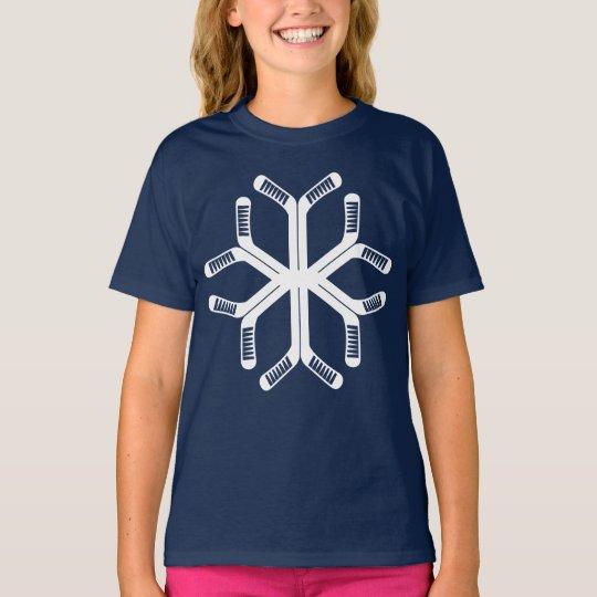 Hockey Sticks Snowflake Christmas Tee