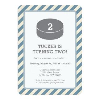 "Hockey Stripped Birthday Party 5"" X 7"" Invitation Card"