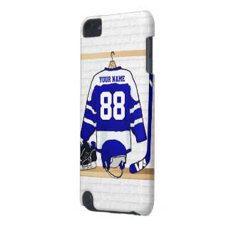 Hockey sur glace bleu et blanc personnalisé Jersey