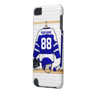 Hockey sur glace bleu et blanc personnalisé Jersey Coque iPod Touch 5G