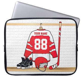 Hockey sur glace rouge et blanc personnalisé housse ordinateur