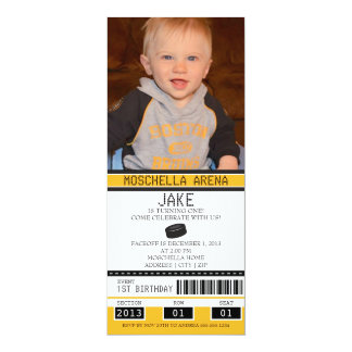 "Hockey Ticket Birthday 4"" X 9.25"" Invitation Card"