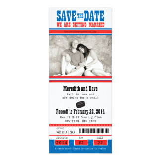 Hockey Ticket Wedding Save the Date Personalized Announcements