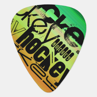 Hockey; Vibrant Green, Orange, & Yellow Guitar Pick