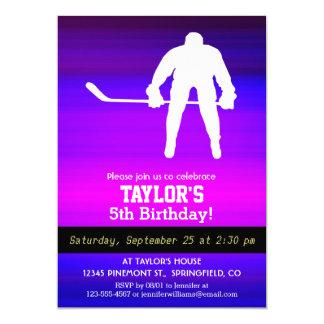 "Hockey; Vibrant Violet Blue and Magenta 5"" X 7"" Invitation Card"