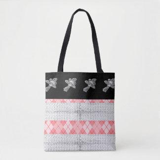 Hodge-Podge-Peach-Argyle-Mod_Bag _Tote-M-L Tote Bag