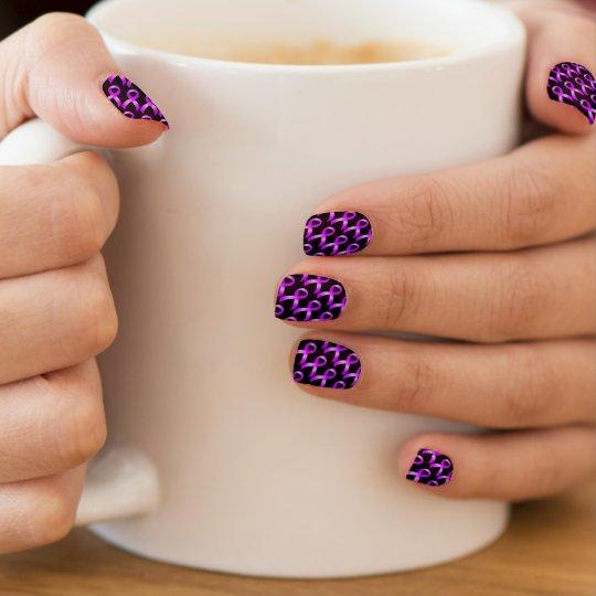 Hodgkins Lymphoma Violet Ribbon Minx Nail Art