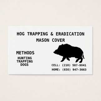 HOG TRAPPING & ERADICATION BUSINESS CARD