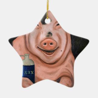Hogging The Moonshine Ceramic Ornament