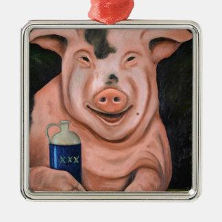 Hogging The Moonshine Metal Ornament