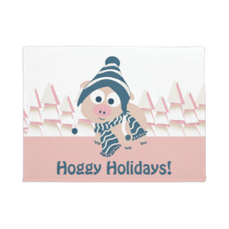 Hoggy Holidays! Cute Pink Pig Doormat