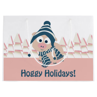 Hoggy Holidays! Cute Winter Pig Large Gift Bag