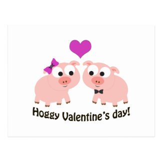 Hoggy Valentines Day Pigs Postcard