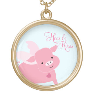 """""""Hogs and Kisses"""" Cute Flying Pig Gold Plated Necklace"""