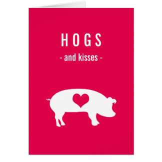 hogs and kisses valentine with pig on deep pink card - Valentine Pig