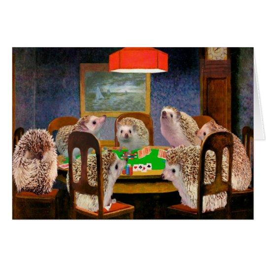 Hogs Playing Poker Hedgehog Art Card
