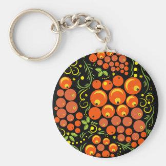 Hohloma Egg Black and Rowan Basic Round Button Keychain
