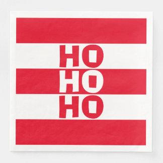 Hohoho Red and White Striped Paper Napkin