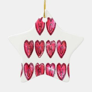Hohoho! Santa cool hearts text Christmas love desi Ceramic Ornament